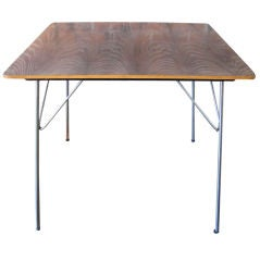 Rare and early black aniline-dyed folding table by Charles Eames
