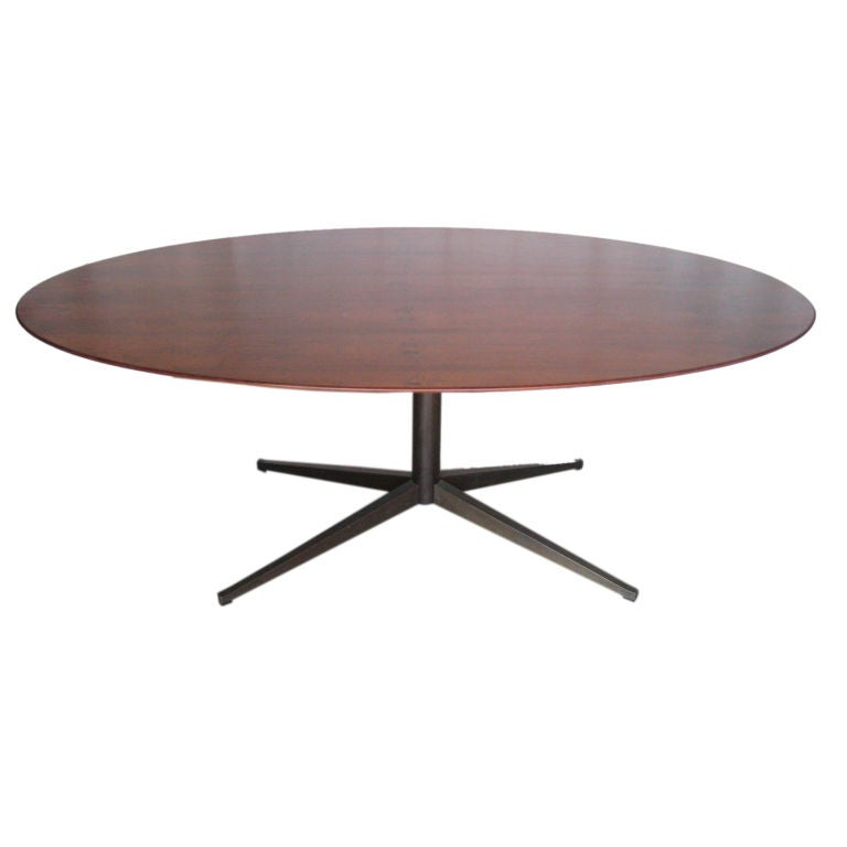 Rare Rosewood And Bronze Tabledesk By Florence Knoll At