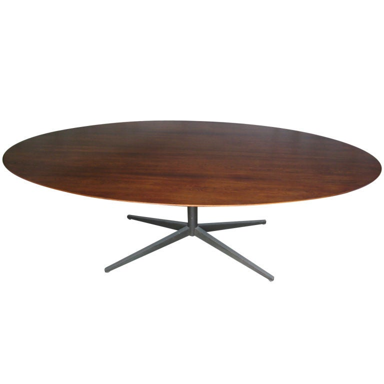 Large Rosewood And Bronze Elliptical Table By Florence