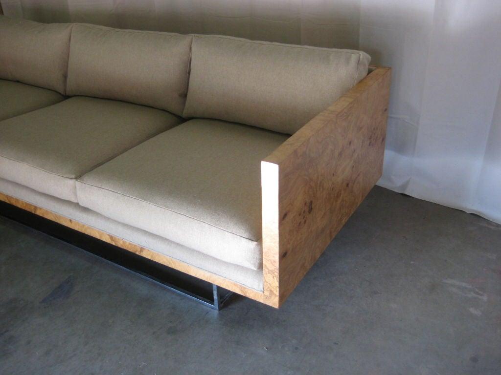 Mid-20th Century Burl Wood Case Sofa designed by Milo Baughman