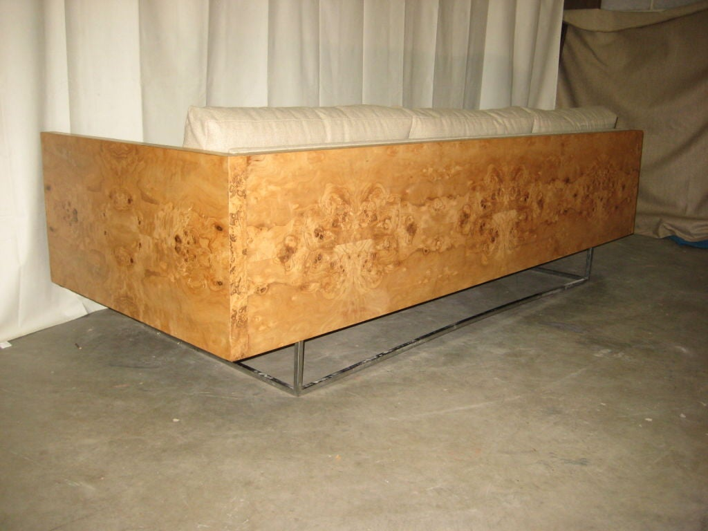 Burl Wood Case Sofa designed by Milo Baughman 1