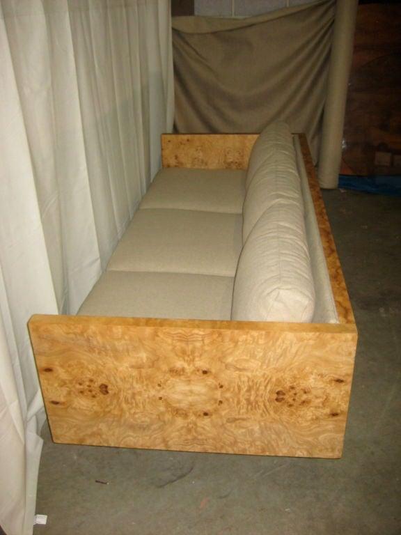 Burl Wood Case Sofa designed by Milo Baughman 3