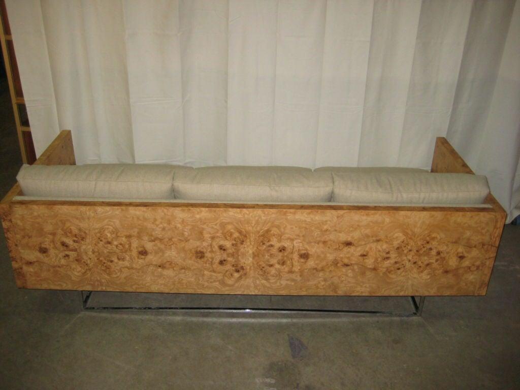 Burl Wood Case Sofa designed by Milo Baughman 4