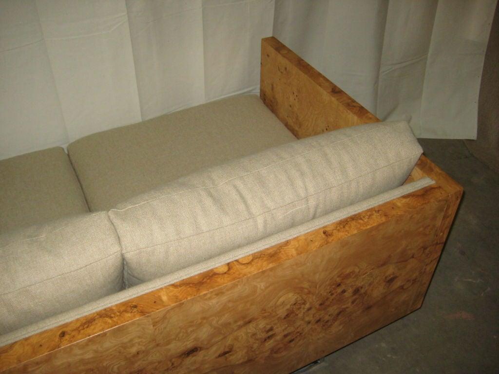 Burl Wood Case Sofa designed by Milo Baughman 5