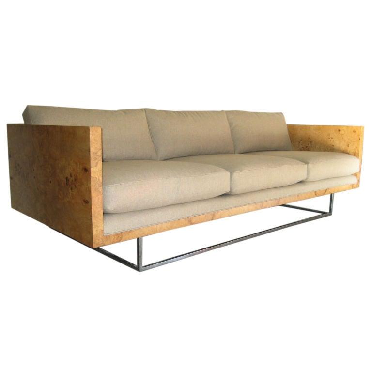 Burl Wood Case Sofa designed by Milo Baughman