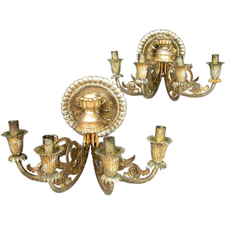 A Pair Of Early 19th Century Italian Tole Four Light