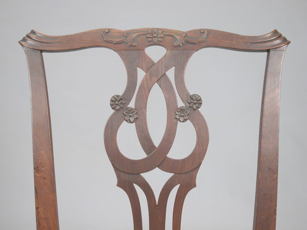 A Pair of 18th Century Chippendale Mahogany Side Chairs image 2