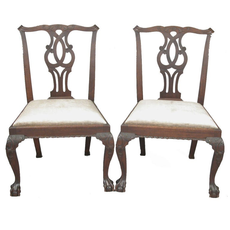 A Pair of 18th Century Chippendale Mahogany Side Chairs