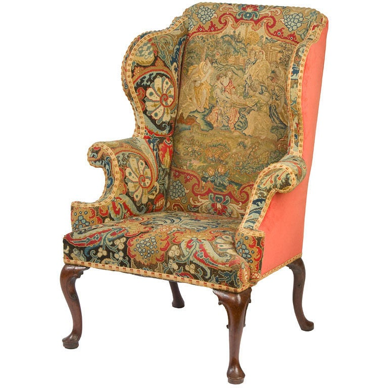 Queen Anne Wing Chair At 1stdibs