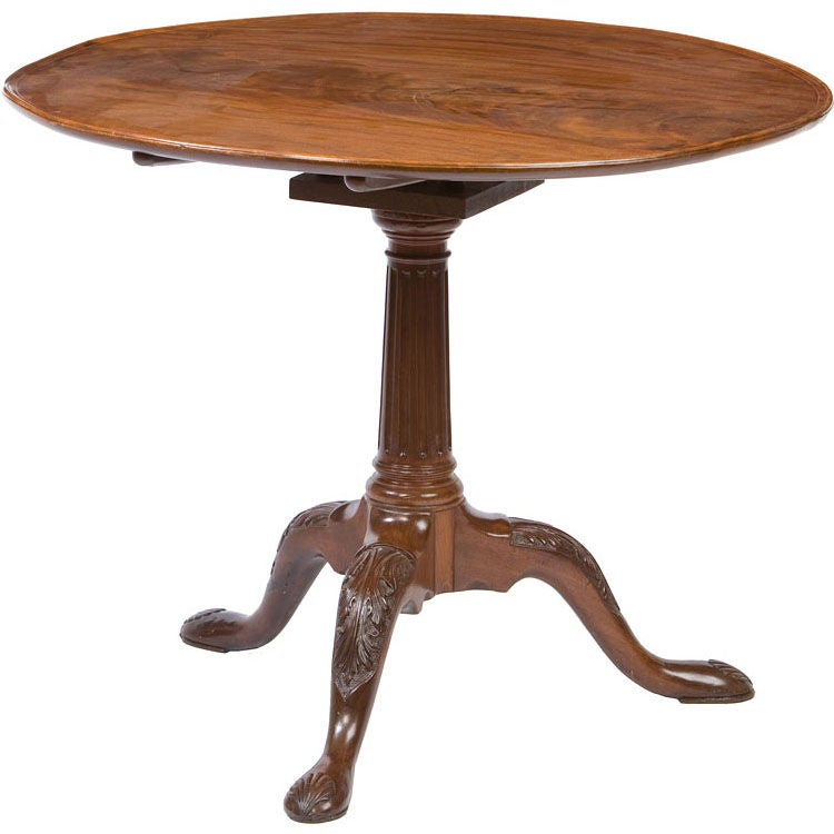 Irish George III tripod base dish top tea table