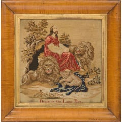 Victorian Needlework Picture Depicting Daniel in the Lions Den