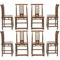 Rare set of 8 Chinese Qianlong 18th century sidechairs