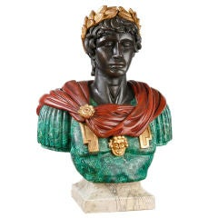 Large Painted Carved Wood Bust of Caesar