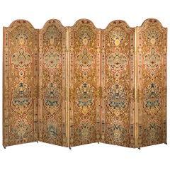 French Napoleon III needlework five panel screen