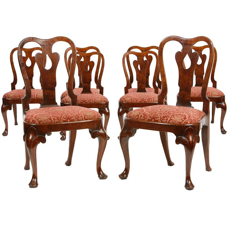 Set of eight queen anne chairs for sale at 1stdibs for Queen anne furniture