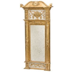 Swedish Neo-Classical gilded and painted pier mirror