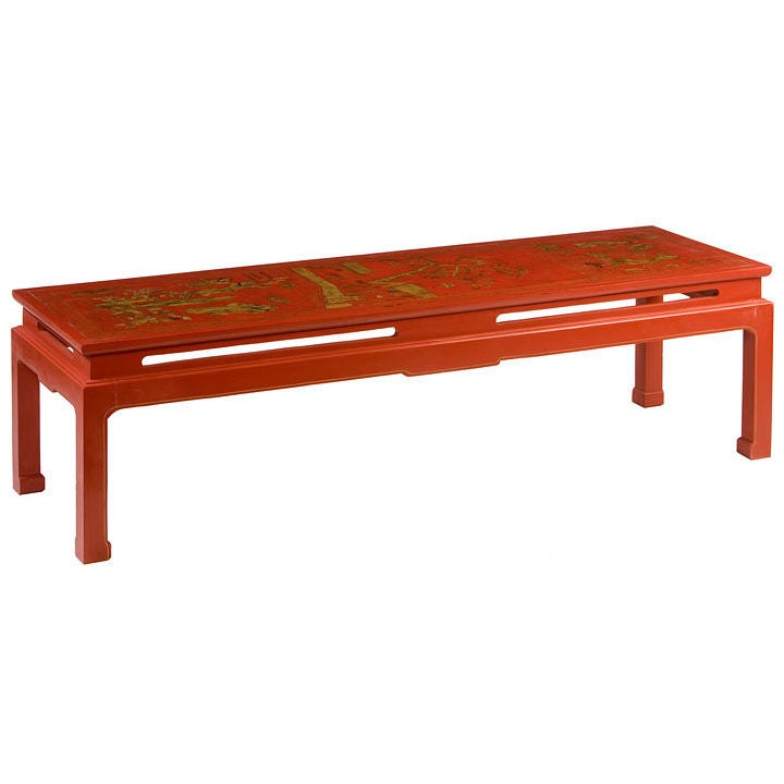 Red Lacquer Coffee Table At 1stdibs