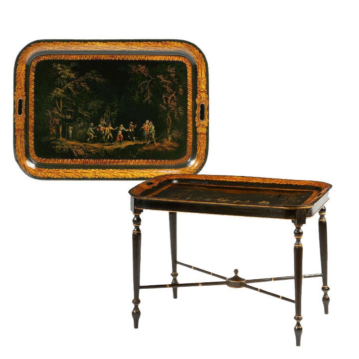 English Regency painted tray table