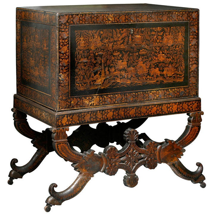 Painted Anglo-Indian Chest on Stand