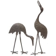 Pair of Japanese Bronze Cranes