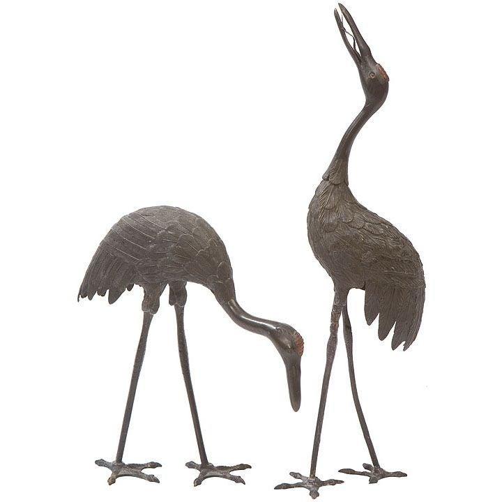 Pair of Japanese Bronze Cranes