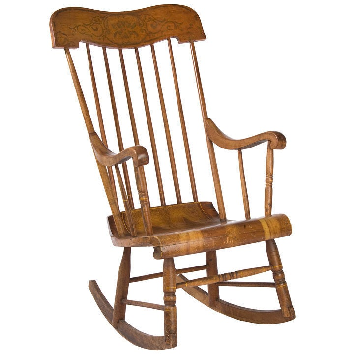 American Painted Rocking Chair For Sale at 1stdibs