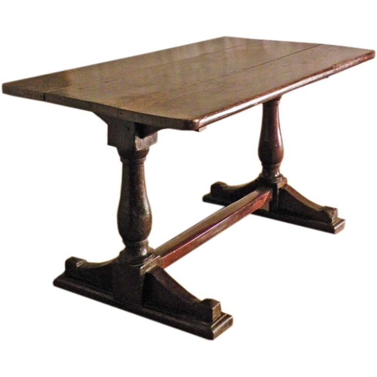 17th century Italian Baroque walnut Trestle Table