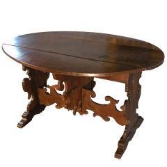 Large Italian Baroque Oval Drop-Leaf Table