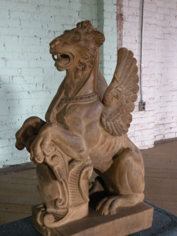 Pair of 19th Century Terra Cotta Winged Lions In Good Condition For Sale In Troy, NY