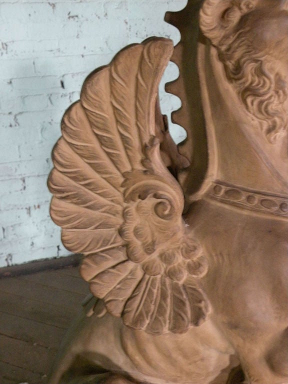 Pair of 19th Century Terra Cotta Winged Lions For Sale 3