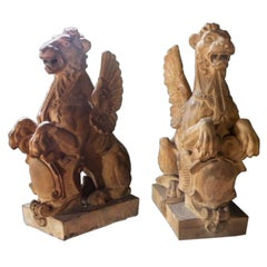 Pair of 19th Century Terra Cotta Winged Lions