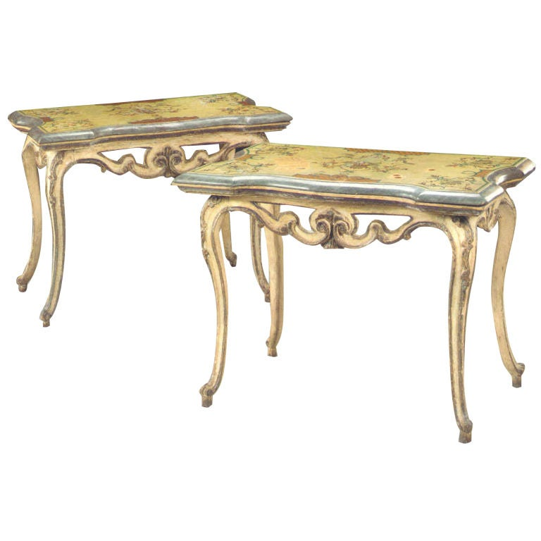 Pair of 18th Century Italian Rococo Painted Console Tables with Scagliola Tops For Sale