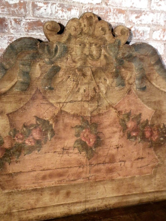 Wood Italian 18th century Painted Baroque Cassapanca For Sale