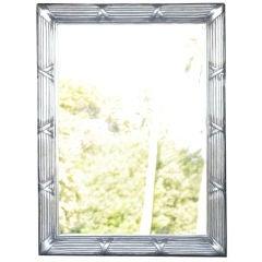 Handsome Sixties Striated Aluminum Hanging Mirror