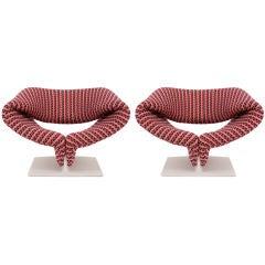 Rare Pair of Pierre Paulin Ribbon Chairs