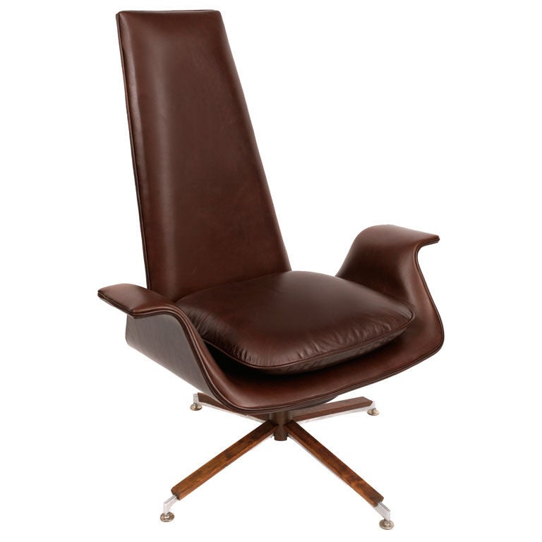 Leather And Walnut Swivel Lounge Chair At 1stdibs