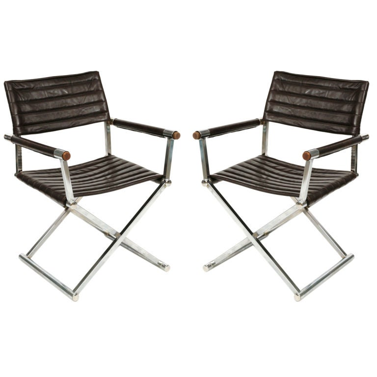 chrome and leather sling chairs at 1stdibs