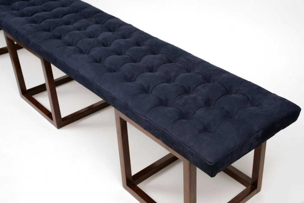 Micro Tufted 8 Foot Suede And Walnut Bench At 1stdibs