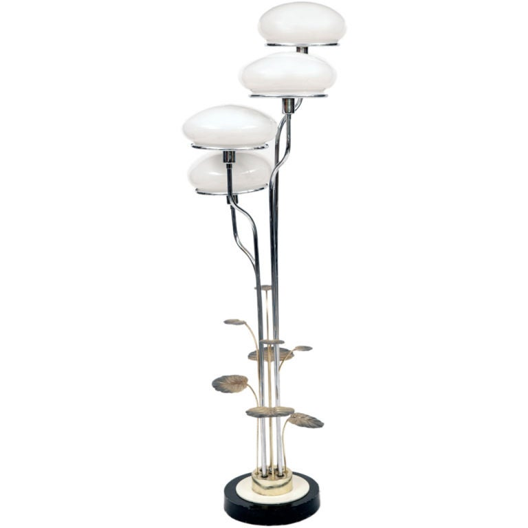 Chrome silver leaf and glass floor lamp at 1stdibs for Floor lamps chrome and glass