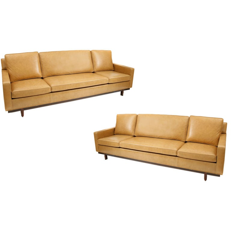 Pair of Frank Lloyd Wright for Henredon Leather Sofas at