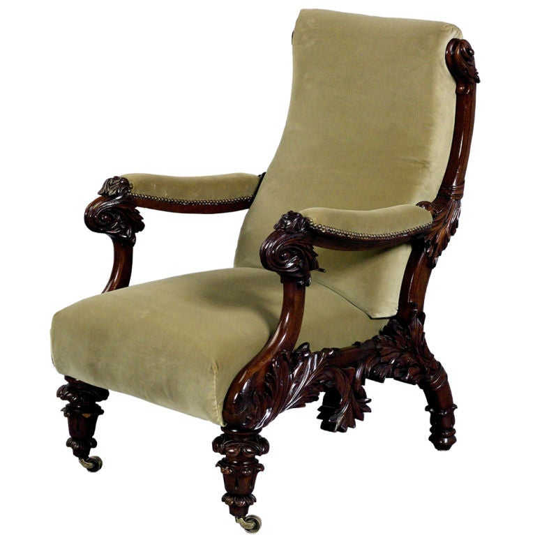 Highly Carved William Iv Library Chair At 1stdibs