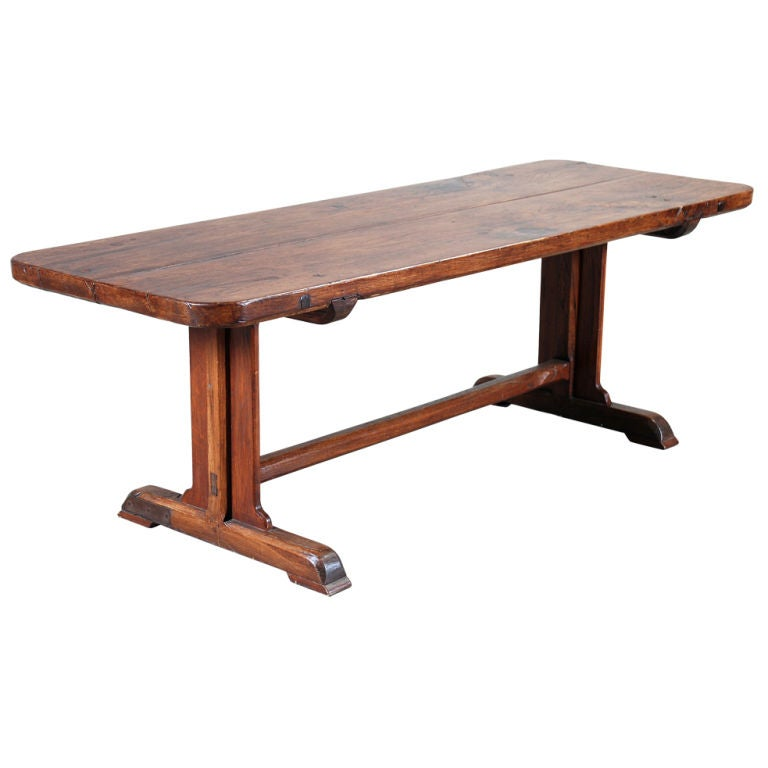 Oak Farm Table With Thick Top On Trestle Base At 1stdibs