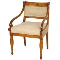 Continental Charles X fruit wood armchair, circa 1835