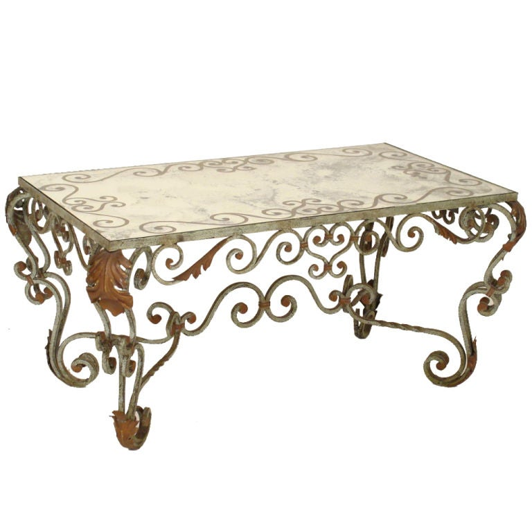 Rococo Painted Iron And Glass Coffee Table At 1stdibs