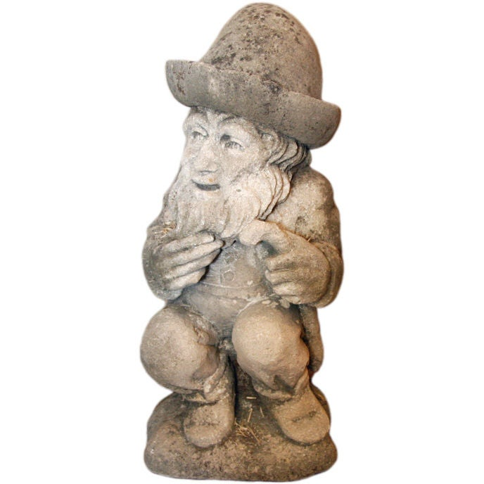 Gnome In Garden: Limestone Statue Of A Garden Gnome At 1stdibs