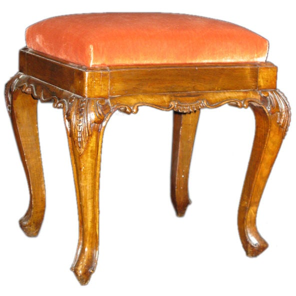 A Carved Walnut Stool With Apricot Velvet Upholstery At