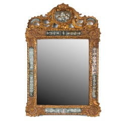 A Carved and Gilded Double Frame Engraved Mirror
