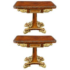 Pair of Regency Rosewood and Parcel Gilt Games Tables