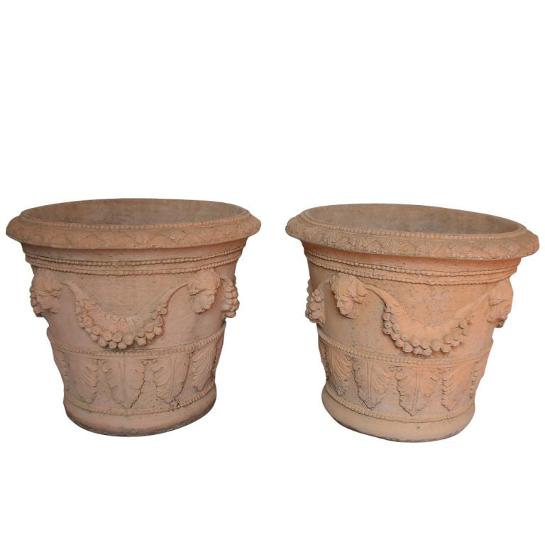 Pair of cast cement planters at 1stdibs - Casting concrete planters ...