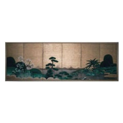 Six Panel Japanese Screen Painting of Japanese Garden Landscape
